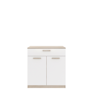 RINO Oak sonoma / White lacquer gloss chest of drawers 2d1s