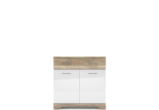 MULATTO Oak canyon / white gloss chest of drawers 2d1s