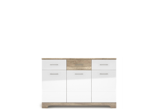 MULATTO Oak canyon / white gloss chest of drawers 3d3s