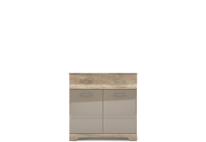 MULATTO Oak canyon / cappuccino gloss chest of drawers 2d1s