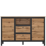 LOFT dąb wotan / czarny chest of drawers 2d2s